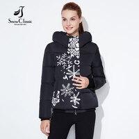 Modele Snowclassic regularne lady drukarnie casual fashion cotton zipper plus przycisk asymetryczny kształt Europejskiej style winter warm