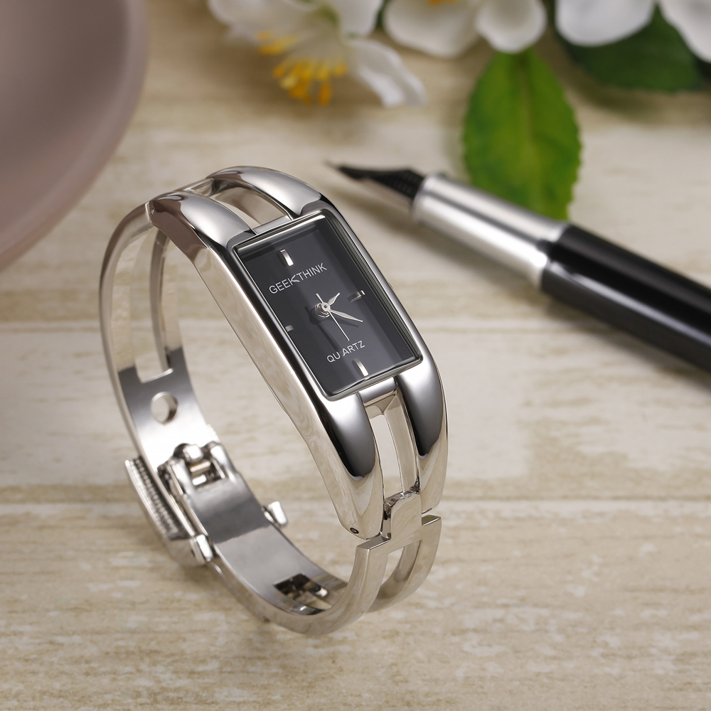 GEEKTHINK luxe merk quartz horloge vrouwen rechthoek roestvrij staal - Dameshorloges - Foto 2