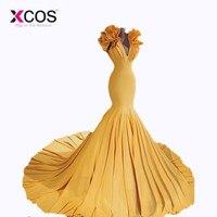 XCOS Новое поступление глубоким v образным вырезом пикантные желтые Русалка в африканском стиле платья для выпускного вечера Свадебные плать