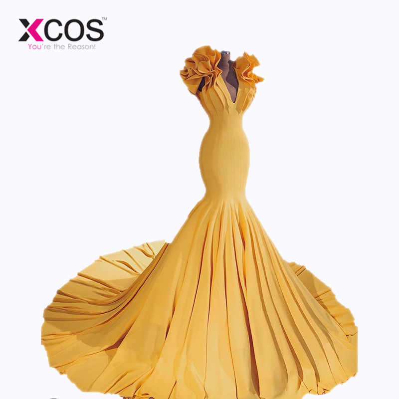 XCOS New Arrival Deep V Neck Sexy Yellow Mermaid African   Prom     Dresses   vestidos de gala 2018 Long Evening Gowns
