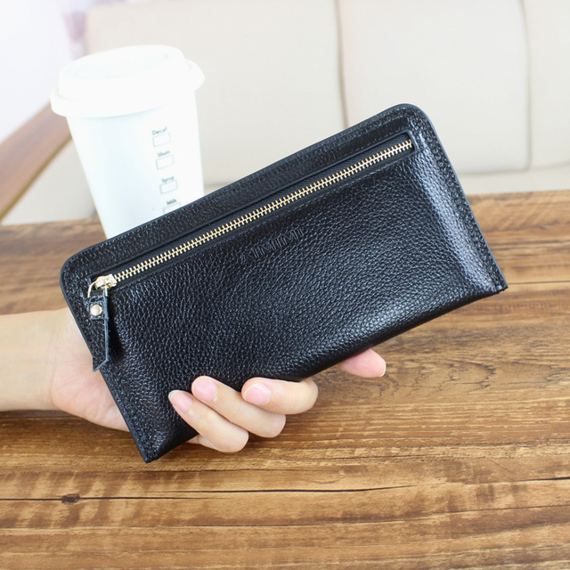 Korean Real Genuine Leather Women Wallets Brand Design High Quality 2017 Cell phone Card Holder Long Lady Wallet Purse Clutch