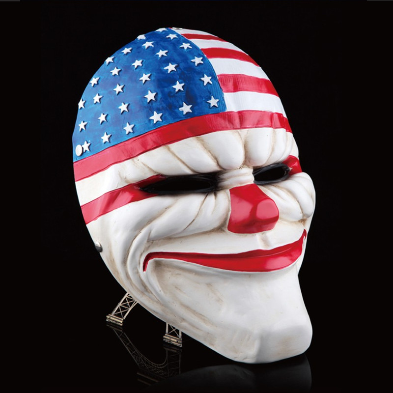 Payday 2 Mask Resin The Heist Dallas / Lupo / Catene / Hoxton cosplay halloween horror clown masquerade cosplay Carnaval Costume uomo