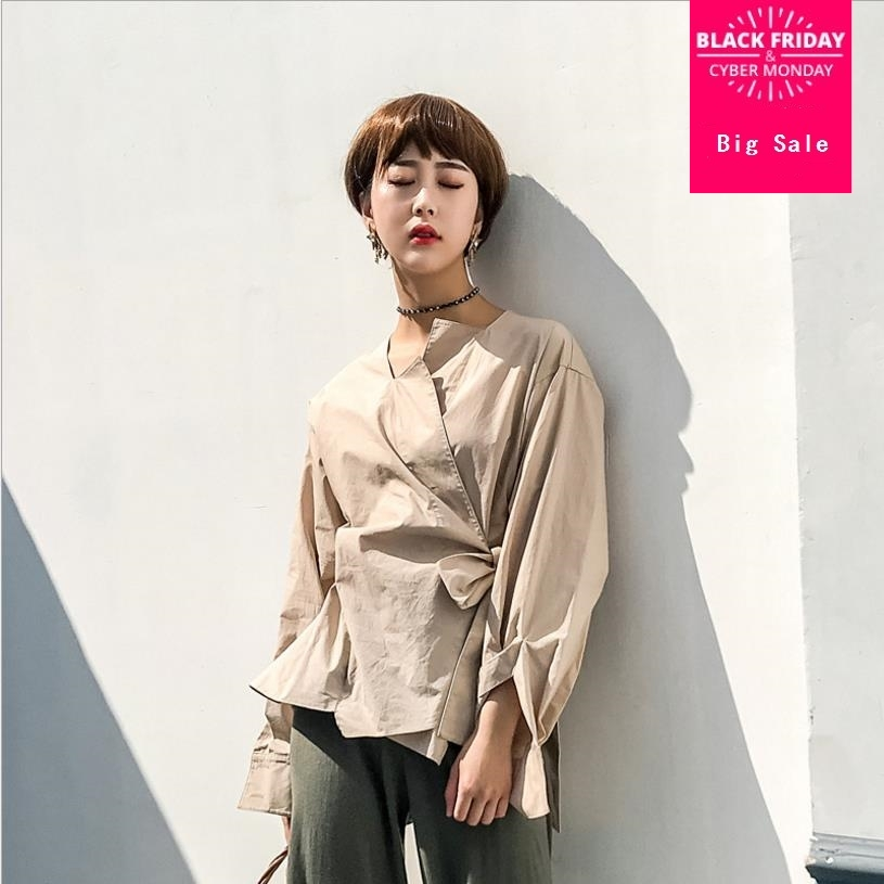 2018 Spring New Women Business Casual Clothing Fashion Sashes Full Sleeve Female Office Shirts Khaki Cotton Blouses Tops Gx555 Dependable Performance