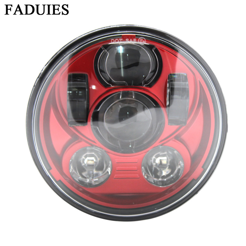 FADUIES Red 5-3/4 inch Motorcycle Daymaker Projector LED headlight For Harley Davidson Street 500 XG750 Sportster 1200 Iron 883 harley led daymaker headlights 5 75 inch hi lo beam projector headlight for harley dyna sportster 1200 48 883 trun signal lights