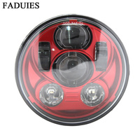 FADUIES Red 5 3/4 inch Motorcycle Daymaker Projector LED headlight For Harley Davidson Street 500 XG750 Sportster 1200 Iron 883