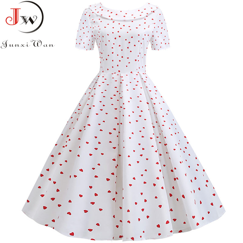 Vintage White Summer Dress Women Peter Pan Collar Print Sweet Bow Midi Dresses Short Sleeve Elegant Party Dress Plus Size Robe