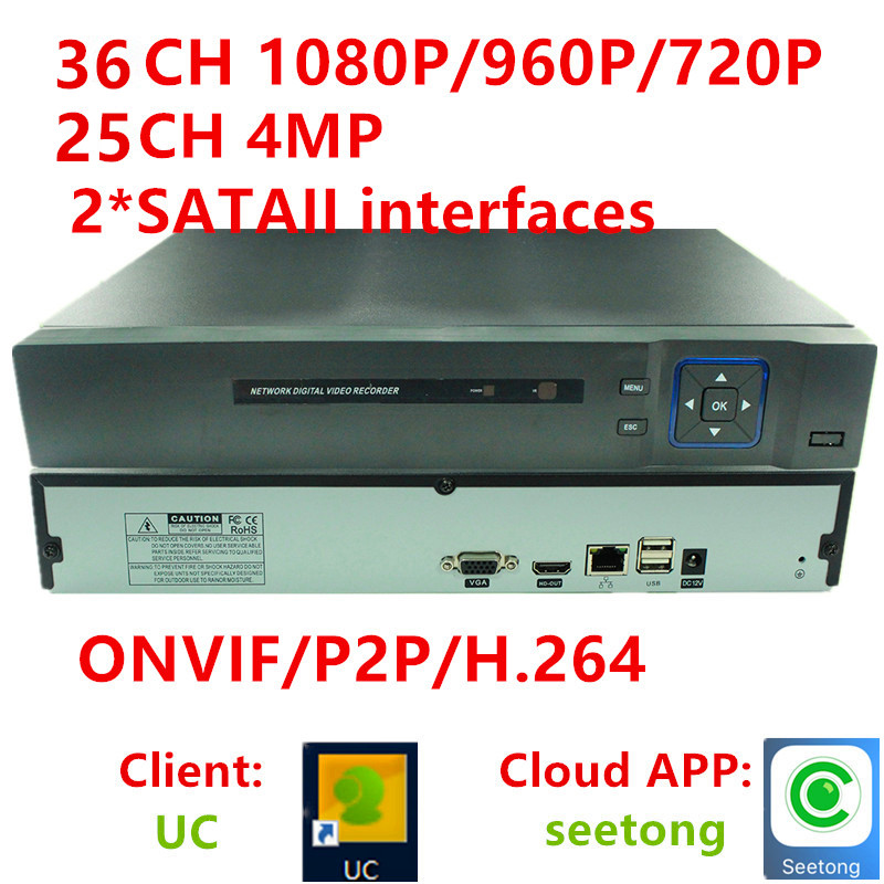 25CH 4MP 36CH channel 1080P CCTV NVR DVR Recorder Onvif Real Time Playback HDMI Output HD720P