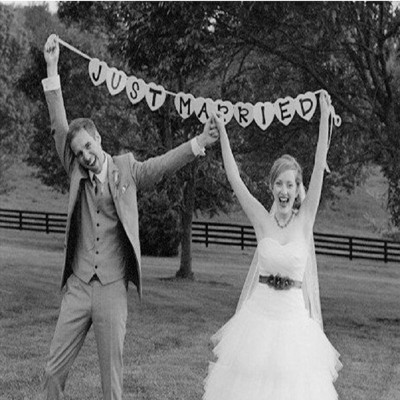 Just Married Vintage Wedding Bunting Banner Party Decorations Photo Booth Props Garland Bridal Shower Decoration In Photobooth From