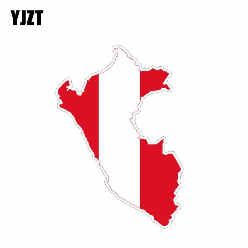 YJZT 10CM*14.3CM Styling Peru Map Flag Car Sticker Reflective Decal 6-0609
