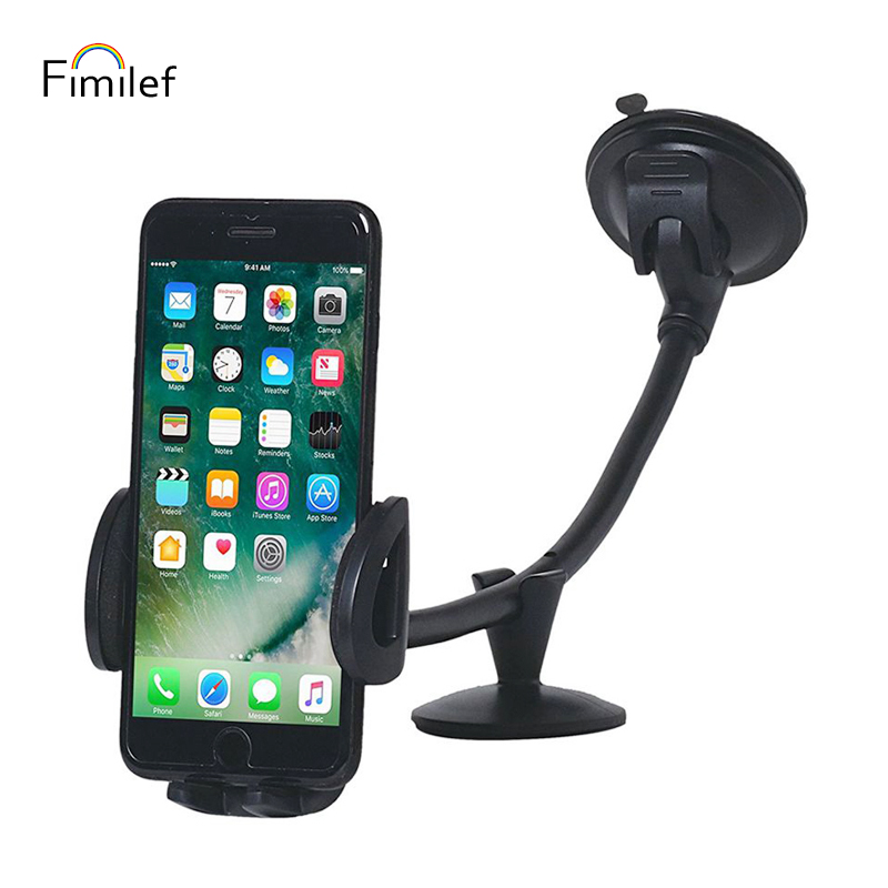 Fimilef Mobile Phone Stand Car Windshield Long Arm Mount Phone Holder 360 Degree Universal Mobile Phone Holder GPS For sumsung in Phone Holders Stands from Cellphones Telecommunications