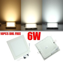 DHL Free ship 10pcs/lot high quality 6W LED Panel Light LED panel light Square/Round led flat panel ceiling lights AC 85-265V