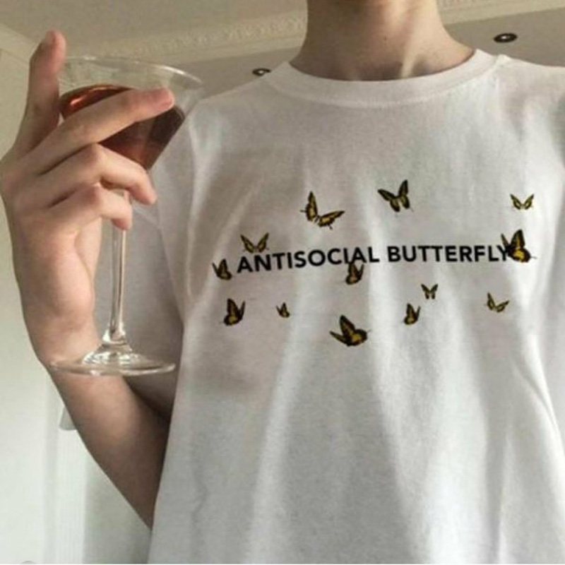 Antisocial Butterfly T-shirt Women Harajuku Funny Graphic Tees Summer Ladies Short Sleeve Aesthetic Clothes Poleras Mujer