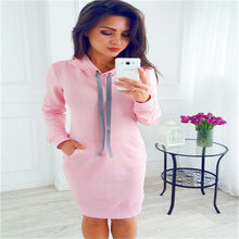 New Warm Spring High Quality Hooded Dresses Pocket Long Sleeved Casual Mini Dress Sportswear Women Clothings(China)