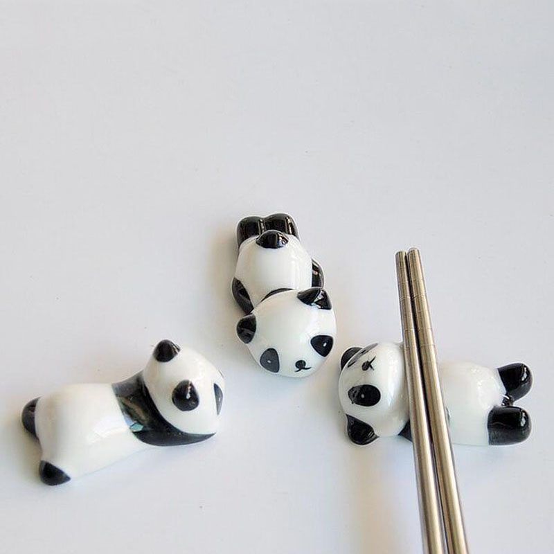 100 Pieces Ceramic Panda Chopsticks Stand Holder Porcelain Spoon Fork Knife Rest Rack Restaurant Table Desk Decor ZA4982