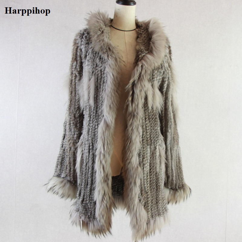 Women knitted real genuine rabbit fur coat overcoat jackets garment & raccoon collar with hood raccoon fur knitted longer jacket