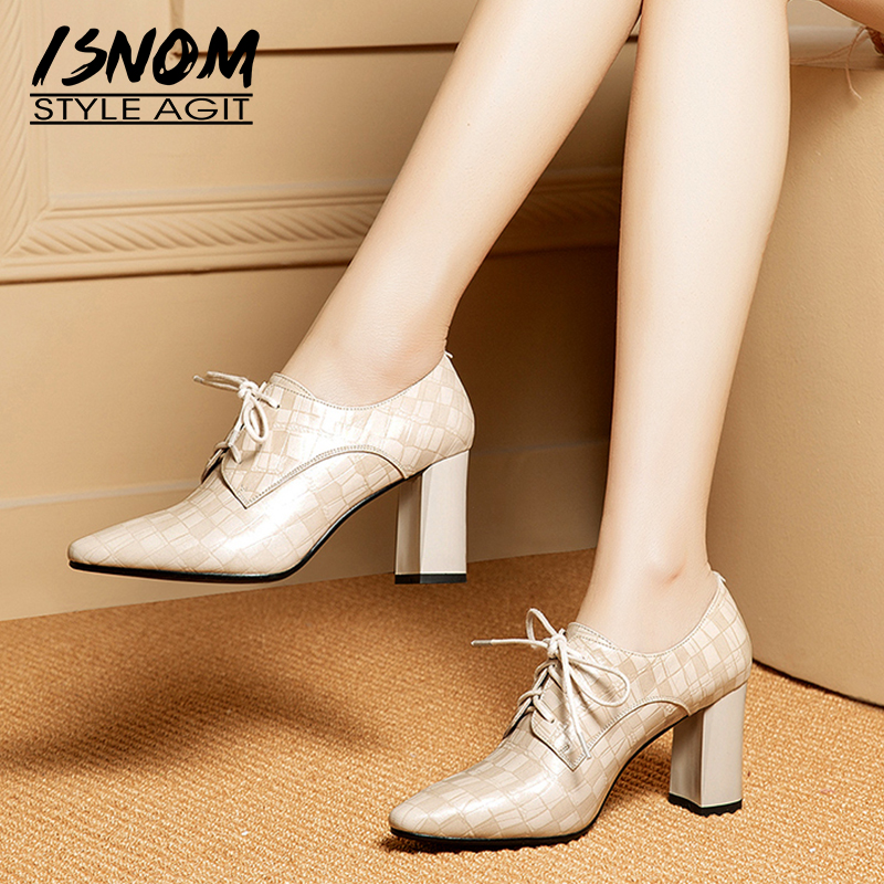 ISNOM Emboss Leather Pumps Women Lace Up Pointed Toe Footwear Fashion Thick High Heels Shoes Female