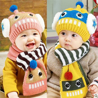 Winter Baby Hat And Scarf Set Cute For Boy Girl Crochet Knitted Caps For Infant Boys