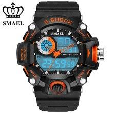 SMAEL Montres Hommes WS1385 Militaire Armée Mens Montre Reloj Led Numérique Sport Montre-Bracelet Mâle Cadeau Analogique S-Choc Automatique montre