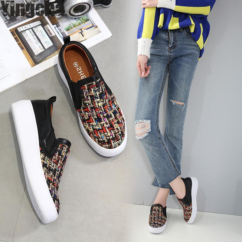 2018 England Style Gingham Women Casual Loafers Spring Autumn Slip On Flats For Woman Ladies Single Shoes Plus Size 35-40 spring women loafers soft slip on ballet flats for 2017 summer style stripe canvas shoes woman plus size 35 40