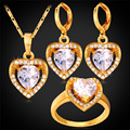 Zirconia Heart Jewelry Earrings Ring Pendant Necklace Set Gold Plated Bridal Wedding Jewelry Set For Women PER1155