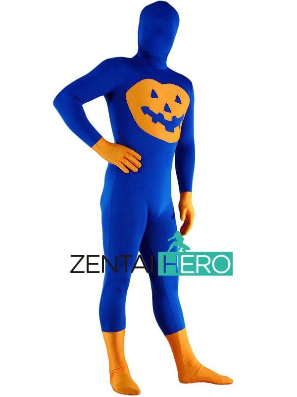 Free Shipping DHL Wholesale Unisex Adult Jack-O-Lanterns Pumpkin Pattern Lycra Spandex Zentai Bodysuit Fashion Halloween Costume