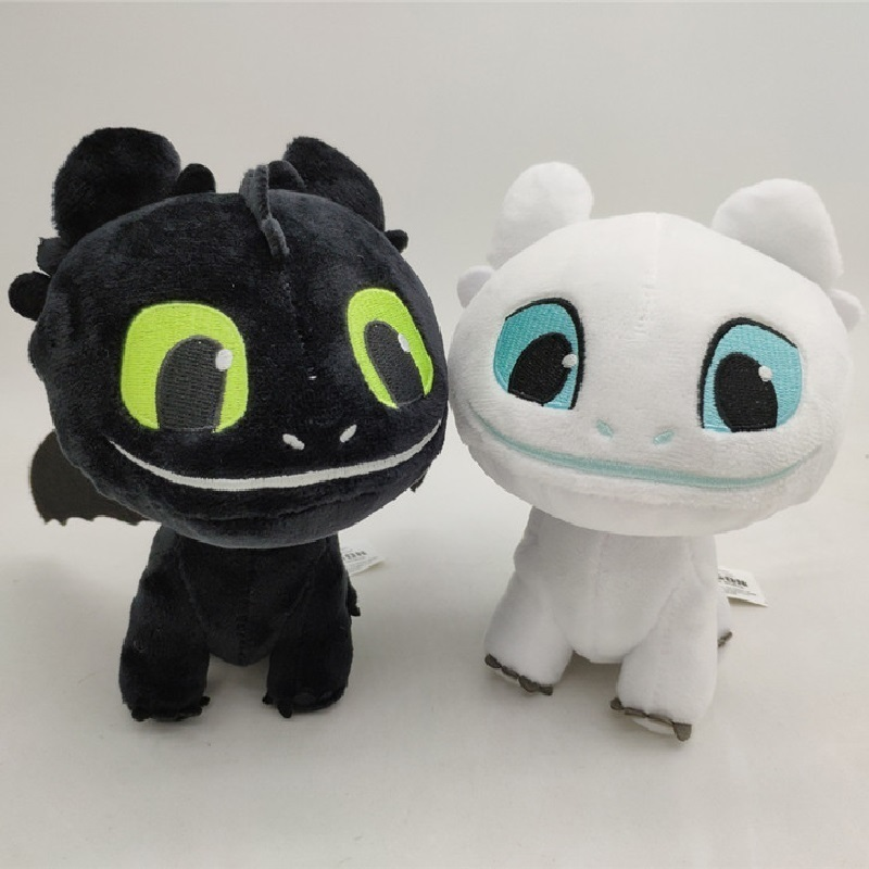 How To Train Your Dragon 3 Light Fury Night Fury Toothless Plush Toys Soft White Black Dragon Stuffed Animals Doll Kids Toys