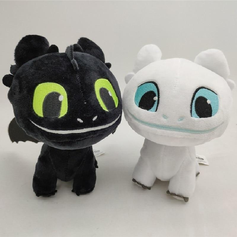How To Train Your Dragon 3 Light Fury Night Fury Toothless Plush Toys Soft White Black Dragon Stuffed Animals Doll Kids Toys