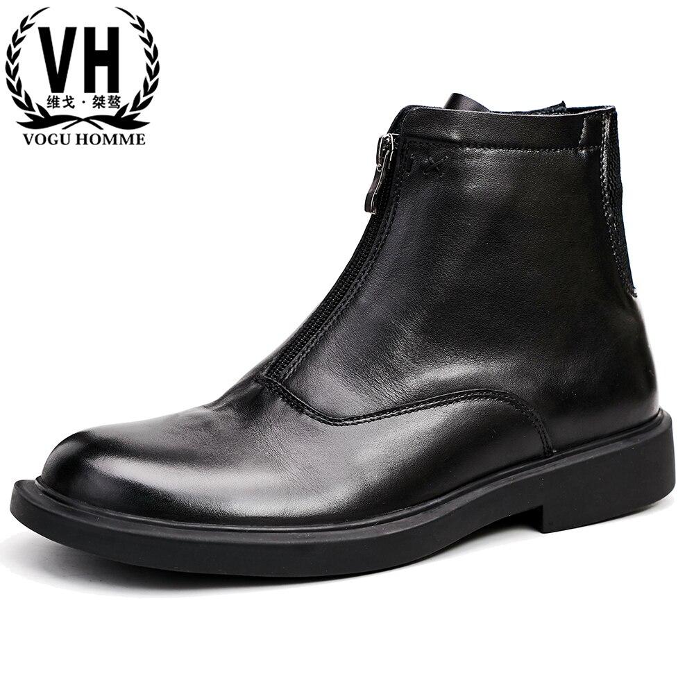Real leather mens rijlaarzen Britse all match koeienhuid kasjmier rits mannelijke hoge schoenen winter korte laarzen chelsea laarzen op  Groep 1