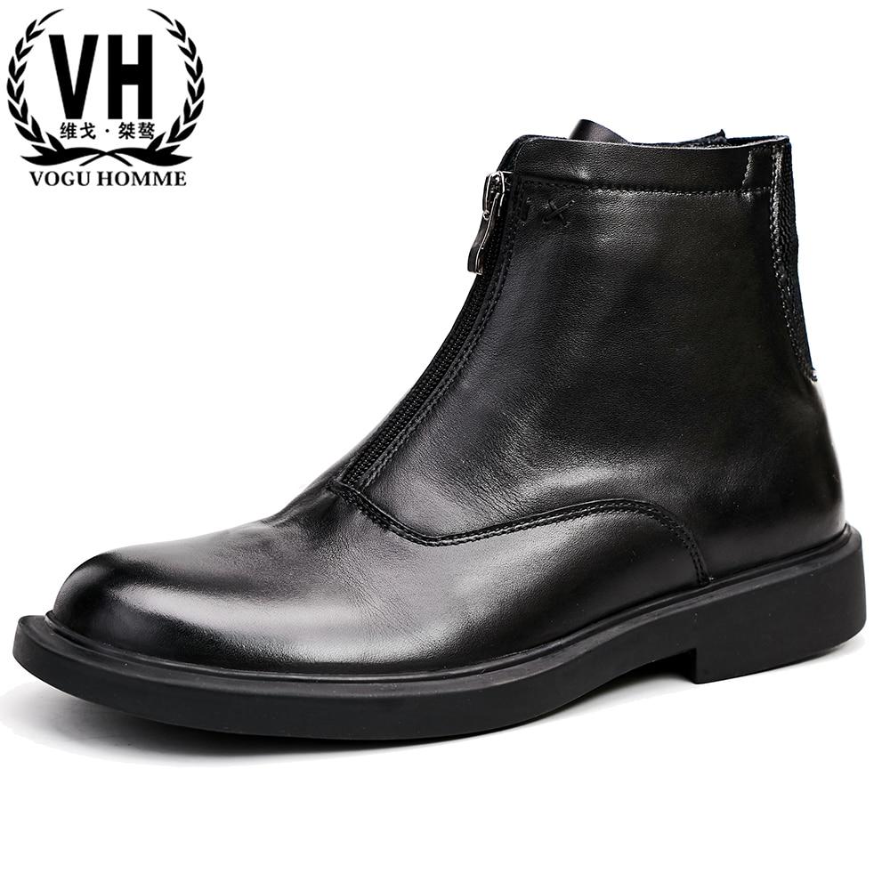จริงหนัง mens รองเท้าบู๊ตอังกฤษทั้งหมดตรงกับ cowhide แคชเมียร์ซิปชายสูงรองเท้ารองเท้าบูทฤดูหนาวรองเท้าเชลซี บน   1
