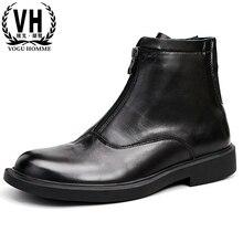 ba5a3ce68604 En cuir véritable hommes bottes d'équitation Britannique tout-allumette  vache pull en cachemire à glissière mâle chaussures haut.