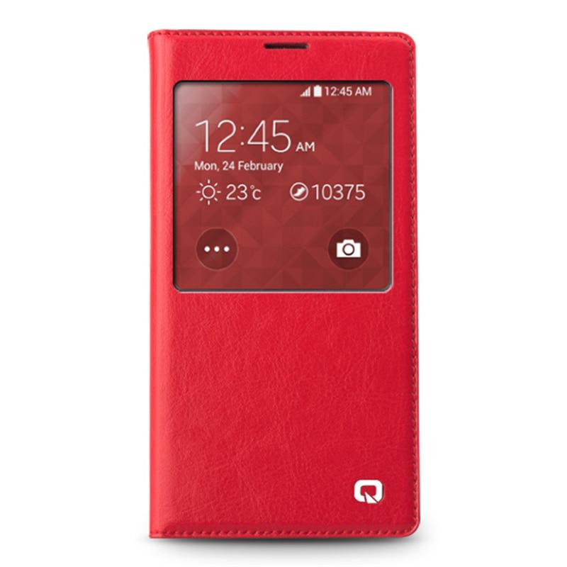bilder für QIALINO Echte Echtem Leder Fall Für Samsung Galaxy i9600 S5 Handy Intelligente Fenster Flip Abdeckung