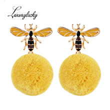 10pairs/lot Fashion Bee Stud Earrings Gold Pompom Ball Pendant Eardrop Jewelry Accessories Women Statement