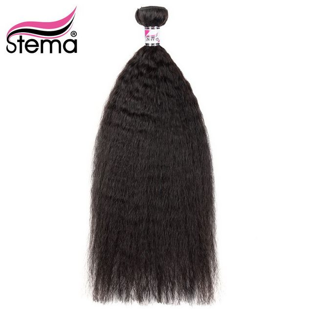 Stema Brazilian Hair Kinky Straight 1Bundle Deal 100% Human Hair Weaving Remy Hair Extension Natural Color Free Shipping