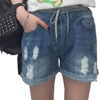 Kadınlar Için yırtık Kot Sıska Denim Capri Jeans Femme Streç artı Boyutu Kadın Kot Ince Şort Pantolon Düz kot Için kadınlar