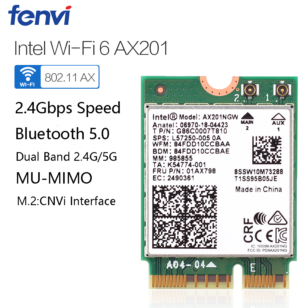 Dual Band 2400Mbps Wireless Intel Wi-Fi 6 AX201 Bluetooth 5.0 NGFF Key E CNVi Wifi Card AX201NGW 2.4Ghz/5Ghz 802.11ac/ax