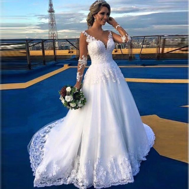 Brautkleid Voll Long Sleeve Sheer Spitze Brautkleider 2017 Berühmte ...