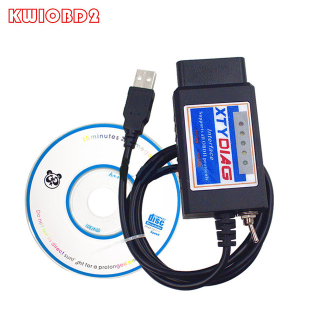 Best Price ELM327 USB HS MS Switch OBDII Scanner ELM 327 V1.5 OBD2 Scan Tool Plastic ELM327 Support All OBDII Protocols PIC18F25K80+FTDI
