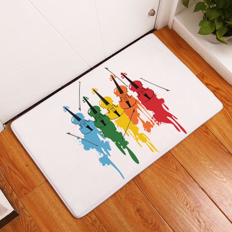 Comwarm Colored Rose Floral Music Series Throbbing Music Notes Kitchen Floor Mats Vintage Fluffy Staff Carpet Rugs for Bedroom