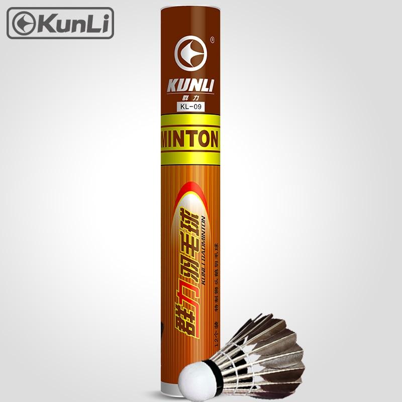 Bezmaksas piegāde Kunli badmintona šalles KL-09 labākās kvalitātes melnās zosu spalvu shuttlecocks apmācībai un super izturīgam