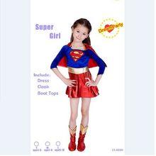 CaGiPlay 子スーパーガールセクシーな女の子スーパーヒーロー子供のための日の衣装コスプレパーティースーパー少女衣装キッズスーパーマンドレス
