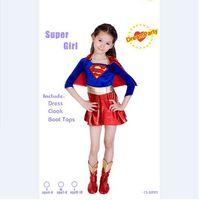 Cagiplay supergirl criança meninas sexy super hero traje cosplay do partido do dia das crianças para meninas super crianças traje superman dress