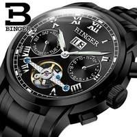 Genuine Swiss BINGER Brand Men Automatic Mechanical Self Wind Movement Sapphire Watches Waterproof Hollow Tourbillon Table