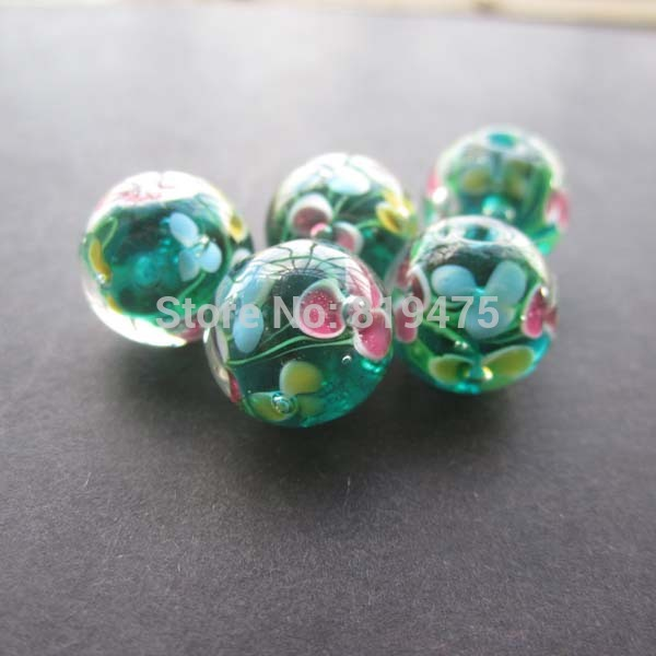 10pcs 10mm 12mm handmade glass lampwork beads flower beads for Unique stones for jewelry making