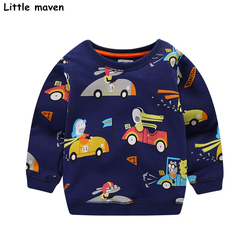 Little maven baby boys clothes 2017 autumn children cotton long sleeve terry knitted racing car print thick t shirt C0039