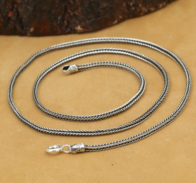 100% 925 Sterling Silver Foxtail necklace ,sterling silver chain thailand handmade women's chain free shipping