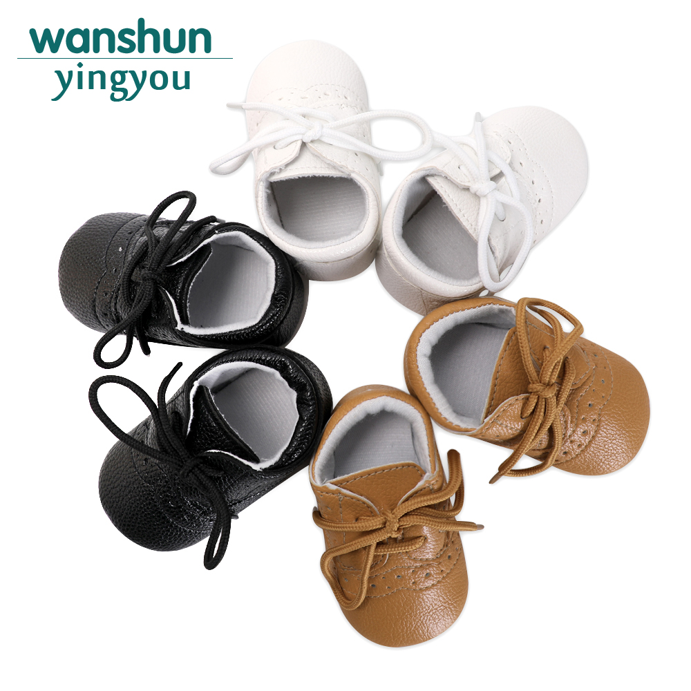 Fashion Childish Babies Shoes Soft PU Leather Little Boys Solid Sole Infant Toddler Crib Causal 0-18 Months Prewalking Shoes