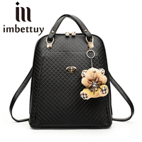 Imbettuy Tablets Female Laptop Backpack 15.6 Fashion Black Backpack Women Bags Travel Mochila Feminino Pu Leather Bags