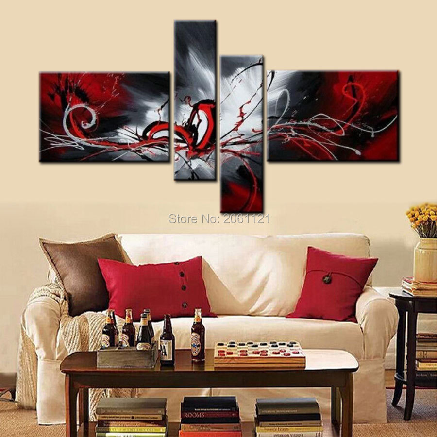 Modern Abstract cnavas oil painting hand painted Black White and Red Wall Art Home Decorative Picture 4 Panels Canvas Art in Painting Calligraphy from Home Garden