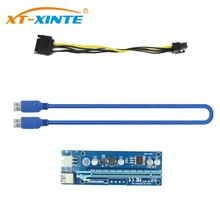 цена Pci-e Pci Express Riser Card 1x To 16x GPU Usb 3.0 Extender Riser X1 X16 Card Adapter SATA 6Pin Power Cable For Miner BTC Mining