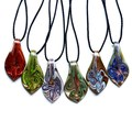 De moda de La Hoja Pétalo Lampwork Murano Collar Colgante de Cristal al por mayor 2015 Mujeres Colgantes de La Manera de la Llegada del envío libre